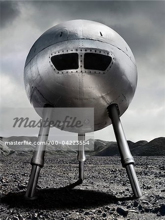 Spaceship on Rocky Terrain Stock Photo - Rights-Managed, Image code: 700-04223554