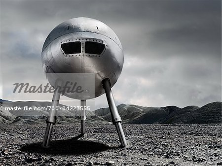 Spaceship on Rocky Terrain Stock Photo - Rights-Managed, Image code: 700-04223555