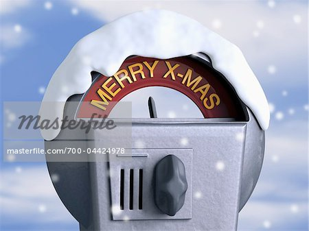 Close-Up of Parking Meter with Christmas Theme Stock Photo - Rights-Managed, Image code: 700-04424978