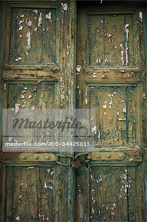 Close-Up of Old Locked Door