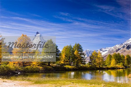 Lake Grindjisee and Matterhorn in Autumn, near Zermatt, Switzerland Stock Photo - Rights-Managed, Image code: 700-04625267