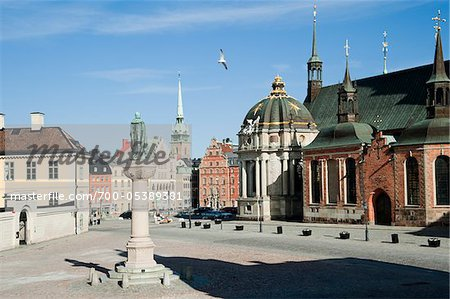 Riddarholmskyrkan Church and Town Square, Riddarholmen, Gamla Stan, Stockholm, Sweden Stock Photo - Rights-Managed, Image code: 700-05389381