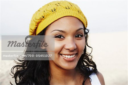 Close-Up of Woman Wearing Hat Stock Photo - Rights-Managed, Image code: 700-05451027