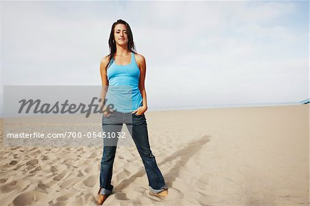 Woman Standing on Beach Stock Photo - Rights-Managed, Image code: 700-05451032