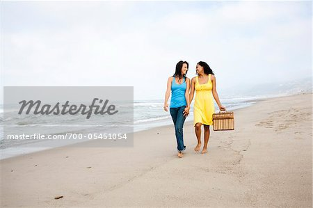 Couple with Picnic Basket on Beach Stock Photo - Rights-Managed, Image code: 700-05451054