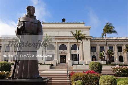 Statue of Father Junipero Serra in front of City Hall, Ventura, California, USA