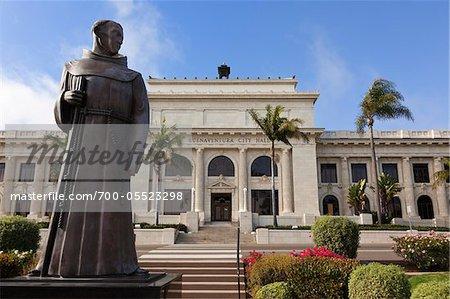 Statue of Father Junipero Serra in front of City Hall, Ventura, California, USA