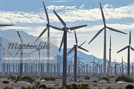 Wind Farm in Desert near Banning, Riverside County, California, USA Stock Photo - Rights-Managed, Image code: 700-05524180