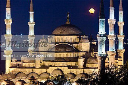 Moon over Blue Mosque, Istanbul, Turkey Stock Photo - Rights-Managed, Image code: 700-05609450