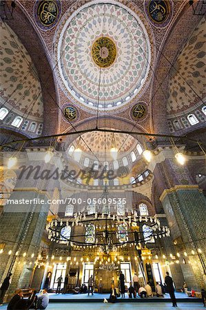 Interior of Yeni Camii Mosque, Eminonu, Istanbul, Turkey Stock Photo - Rights-Managed, Image code: 700-05609535