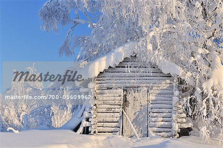 Log Cabin in Winter, Kuusamo, Northern Ostrobothnia, Finland