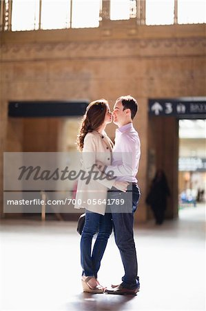 Couple Kissing in Train Station Stock Photo - Rights-Managed, Image code: 700-05641789