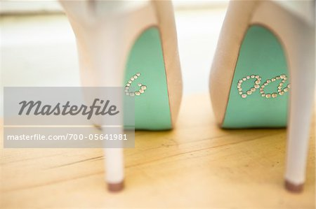 """I Do"" in Rhinestones on Bottom of Shoes Stock Photo - Rights-Managed, Image code: 700-05641981"