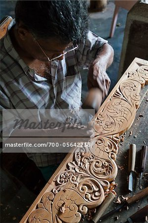 Wood Carving, Naula, Central Province, Sri Lanka Stock Photo - Rights-Managed, Image code: 700-05642238