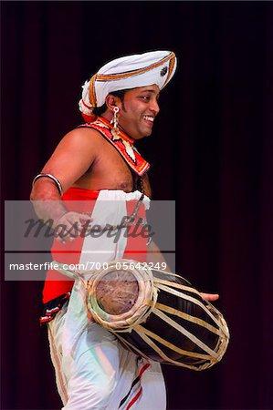 Drummer at Sri Lankan Cultural Dance Performance, Kandy, Sri Lanka