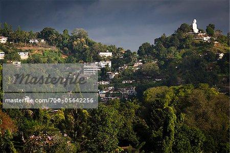 Hillside Buildings and Sitting Buddha, Kandy, Sri Lanka