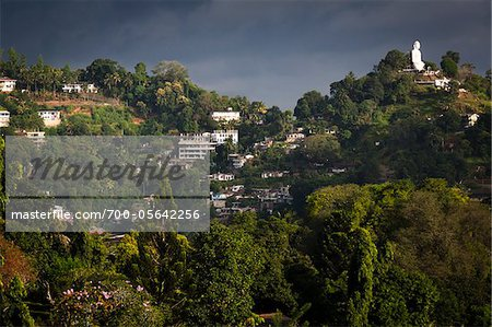 Hillside Buildings and Sitting Buddha, Kandy, Sri Lanka