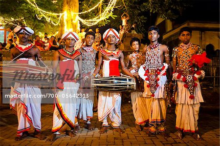 Portrait of Drummers, Esala Perahera Festival, Kandy, Sri Lanka Stock Photo - Rights-Managed, Image code: 700-05642313
