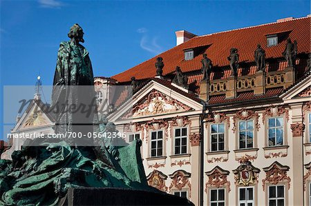 Jan Hus Memorial and Kinsky Palace, Old Town Square, Prague, Czech Republic