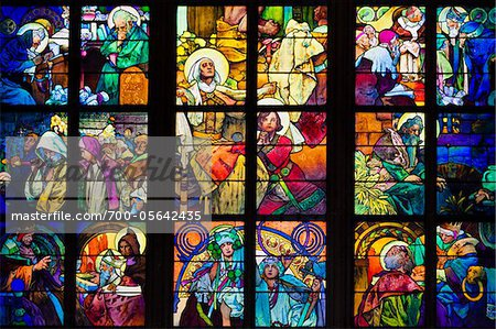 Stained Glass Window, St. Vitus Cathedral, Prague Castle, Prague, Czech Republic Stock Photo - Rights-Managed, Image code: 700-05642435