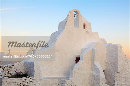 Church of Panagia Paraportiani at Dawn, Chora, Mykonos Town, Mykonos, Cyclades Islands, Greece Stock Photo - Rights-Managed, Image code: 700-05653134