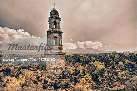 San Juan Parangaricutiro Church, Michoacan, Mexico