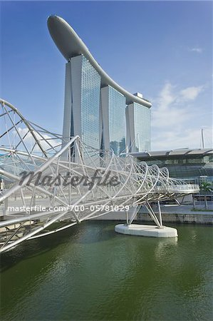 Helix Bridge and Marina Bay Sands, Singapore Stock Photo - Rights-Managed, Image code: 700-05781029
