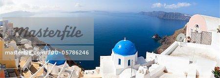 Panoramic View of Oia, Santorini Island, Greece