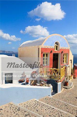 Houses in Oia, Santorini Island, Greece