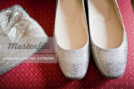 Close-Up of Silver Shoes and Purse Stock Photo - Rights-Managed, Image code: 700-05786584