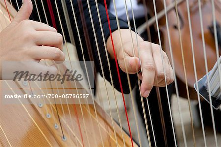 Close-Up of Harp Player's Hands Stock Photo - Rights-Managed, Image code: 700-05786587