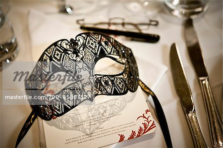 Mask at Place Setting Stock Photo - Rights-Managed, Image code: 700-05803127