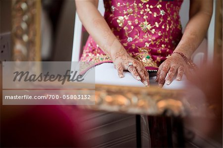 Bride's Hands Decorated with Mendhi Stock Photo - Rights-Managed, Image code: 700-05803132