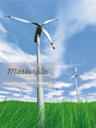 Wind Turbines in Field Stock Photo - Rights-Managed, Image code: 700-05803432