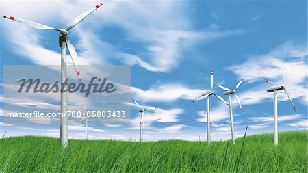 Wind Turbines in Field Stock Photo - Rights-Managed, Image code: 700-05803433