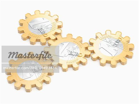 Euros in Shape of Cog Wheels Stock Photo - Rights-Managed, Image code: 700-05803434