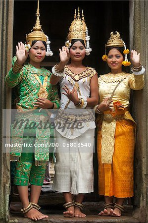 Cambodian Dancers inside Bayon Temple, Angkor Thom, Siem Reap, Cambodia Stock Photo - Rights-Managed, Image code: 700-05803540