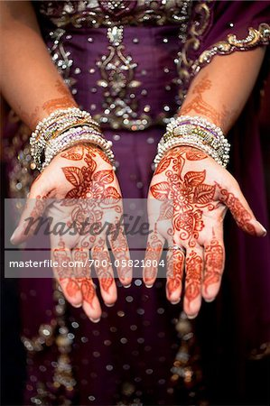 Bride with Henna on Hands Stock Photo - Rights-Managed, Image code: 700-05821804