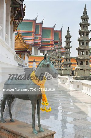 Horse Statue, Wat Suthat, Bangkok, Thailand Stock Photo - Rights-Managed, Image code: 700-05821919