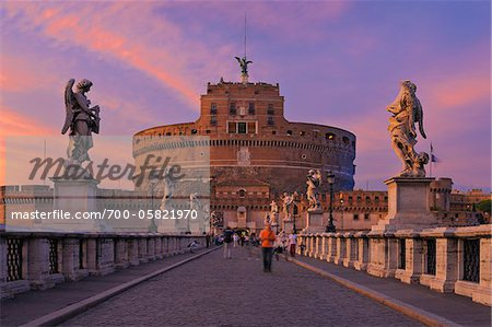 Castel Sant'Angelo and Ponte Sant'Angelo, Rome, Lazio, Italy Stock Photo - Rights-Managed, Image code: 700-05821970