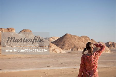 Woman Looking into the Distance, Black Desert, Egypt Stock Photo - Rights-Managed, Image code: 700-05822130