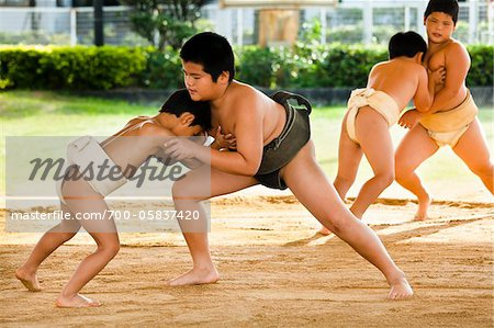 Young Sumo Wrestlers, Tokunoshima, Kagoshima Prefecture, Japan Stock Photo - Rights-Managed, Image code: 700-05837420