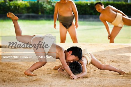 Young Sumo Wrestlers, Tokunoshima, Kagoshima Prefecture, Japan Stock Photo - Rights-Managed, Image code: 700-05837421