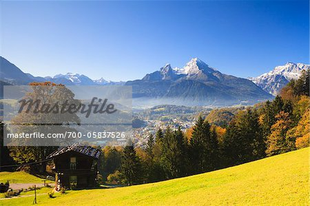 House and Watzmann Mountain, Berchtesgaden, Bavaria, Germany Stock Photo - Rights-Managed, Image code: 700-05837526