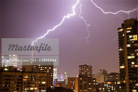 Lightening Striking CN Tower, Toronto, Ontario, Canada Stock Photo - Rights-Managed, Image code: 700-05855064