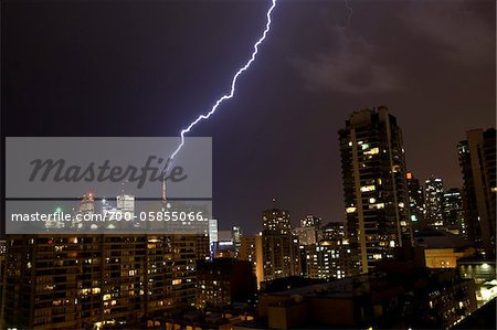 Lightning Striking Building at Night, Toronto, Ontario, Canada Stock Photo - Rights-Managed, Image code: 700-05855066