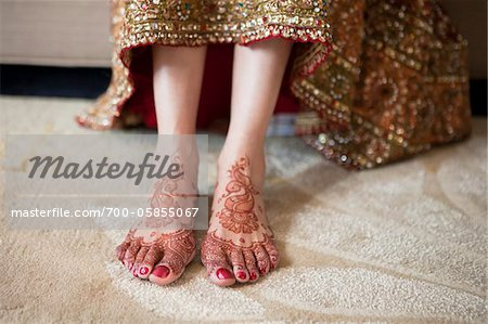 Bride with Henna on Feet Stock Photo - Rights-Managed, Image code: 700-05855067