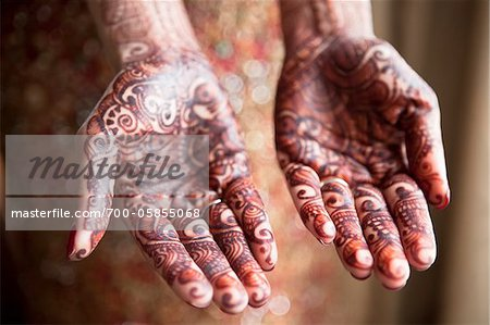 Bride with Mendhi on Palms of Hands Stock Photo - Rights-Managed, Image code: 700-05855068