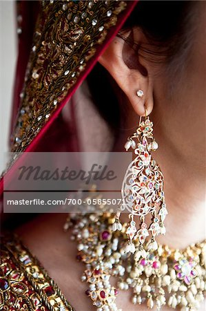 Close-Up of Bride's Earring Stock Photo - Rights-Managed, Image code: 700-05855071