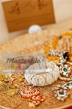 Jewelry on Gold Platter Stock Photo - Rights-Managed, Image code: 700-05855115